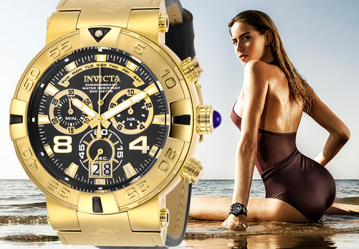 Invicta Sizzling Summer Sale - 660-783 Invicta Men's 52mm Subaqua Noma I Elegant Swiss Quartz Chronograph Leather Strap Watch