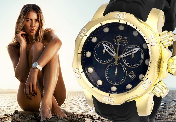 Invicta Sizzling Summer Sale - 669-499 Invicta Men's 52mm Venom Quartz Chronograph Mother-of-Pearl Silicone Strap Watch