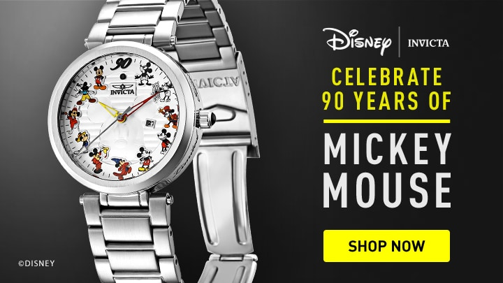 Celebrate 90 years of Mickey Mouse at ShopHQ |  671-619 Invicta Disney® 36mm or 45mm 90th Anniversary Limited Edition Quartz Bracelet Watch