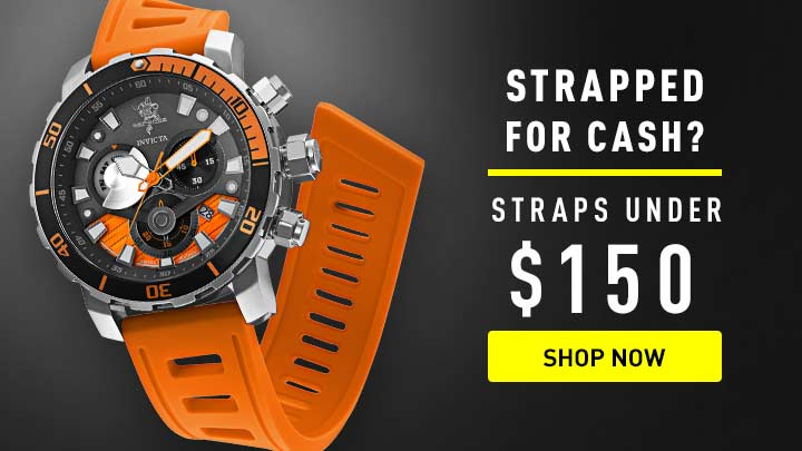 Strapped for cash? Straps under $150 at ShopHQ shop now -671-628 Invicta Men's 52mm Sea Base Swiss Quartz Chronograph Strap Watch w 3-Slot Dive Case