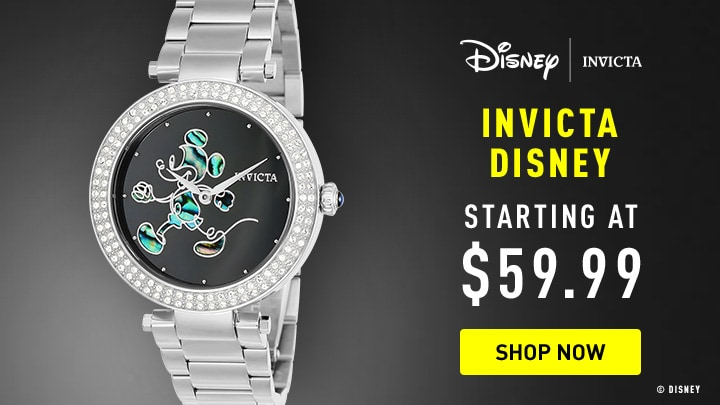 671-893 Invicta Disney® 38mm Quartz Limited Edition Crystal Accented Abalone Dial Bracelet Watch