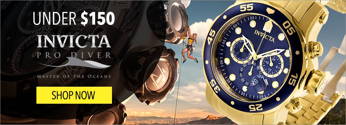 Under $150 Invicta Pro Diver Collection - 667-039 Invicta Men's 48mm Pro Diver Scuba Quartz Chronograph Bracelet Watch w Extra Silicone Strap