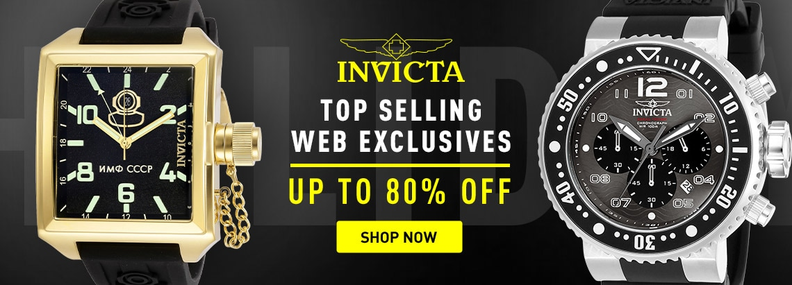 Invicta Top Selling Web Exclusives Up to 80% off at ShopHQ - 673-585 Invicta Men's 45mm Russian Diver Quartz Silicone Strap Watch, 673-583 Invicta Men's 52mm Pro Diver Quartz Chronograph Silicone Strap Watch