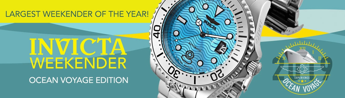 INVICTA WEEKENDER OCEAN VOYAGE EDITION  LARGEST WEEKENDER OF THE YEAR! - 660-772 Invicta 38mm or 47mm Ocean Voyage Grand Diver Limited Edition Automatic Bracelet Watch