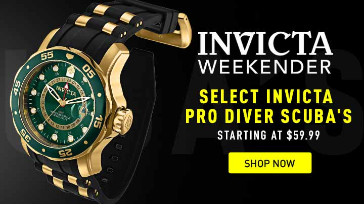 Invicta Weekender - Select Invicta Pro Diver Scuba's starting at $59.99 - Shop Now at ShopHQ - Shop Now -663-949 Invicta Men's 48mm Pro Diver Scuba Quartz GMT Strap Watch w 3-Slot Dive Case