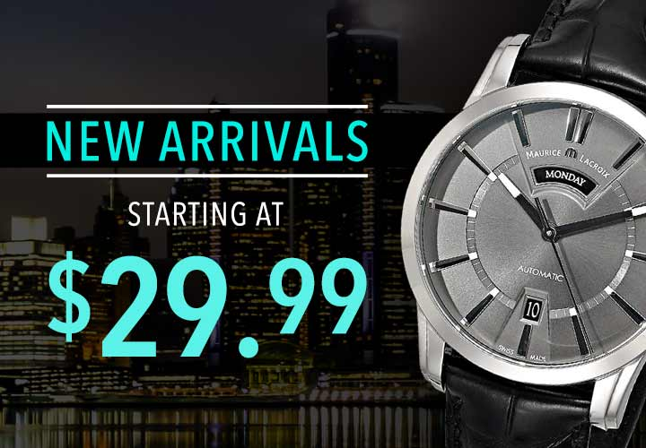 NEW ARRIVALS STARTING AT $29.99 at Evine - 673-795 Maurice Lacroix Men's 40mm Pontos Swiss Made Automatic DayDate Leather Strap Watch