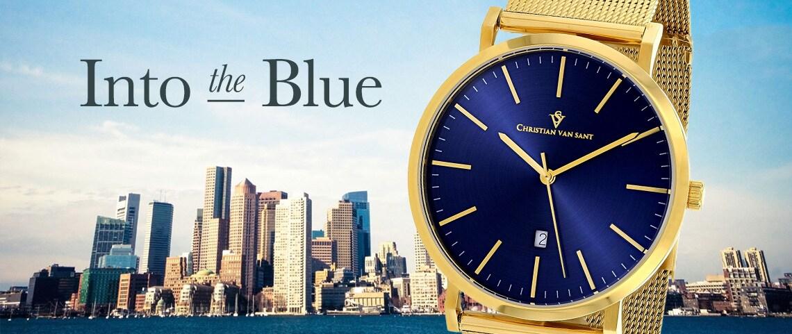 INTO THE BLUE - 657-804 - Christian Van Sant Men's 41mm Quartz Gold-tone Date Blue Dial Stainless Steel Mesh Bracelet Watch