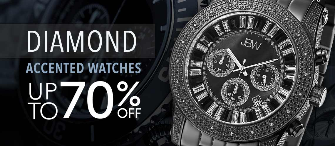 DIAMOND ACCENTED WATCHES UP TO 70% OFF at Evine - 633-216 JBW Men's 48mm Krypton Quartz Chronograph Diamond Accented Bracelet Watch Made w Swarovski Crystals