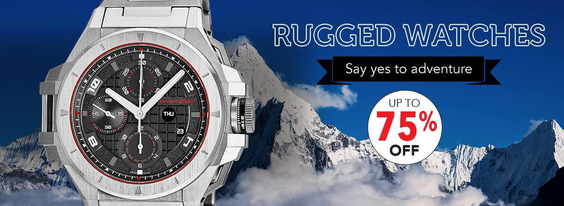 UP TO 75% OFF RUGGED WATCHES Say yes to adventure - 655-202 Snyper Men's 49mm IronClad Swiss Made Automatic Chronograph Black Dial Bracelet Watch
