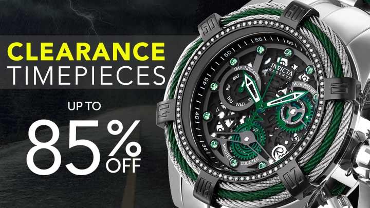 CLEARANCE TIMEPIECES UP TO 85% OFF at Evine -656-336 Invicta Reserve Men's 52mm Bolt Zeus Swiss Quartz 0.33ctw Diamond Bracelet Watch