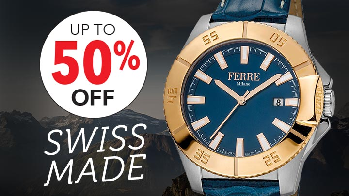 SWISS MADE - Up to 50% OFF - 664-831 Ferre Milano Men's 45mm Swiss Quartz Two-tone Bezel Blue Leather Strap Watch