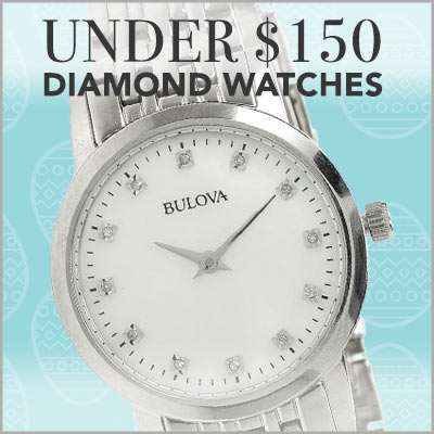 UNDER $150 DIAMOND WATCHES at Evine - 667-887 Bulova Women's Quartz Diamond Accented Mother-of-Pearl Bracelet Watch