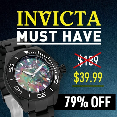 INVICTA MUST HAVE $39.99  79% OFF - 646-968 Invicta 48mm Pro Diver Quartz Mother-of-Pearl Stainless Steel Bracelet Watch