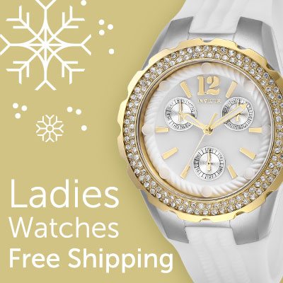 Ladies watches free shipping at ShopHQ | 662-741 Invicta Women's Angel Quartz Multi Function Crystal Accented Silicone Strap Watch