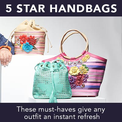 5 STAR HANDBAGS at Evine - 737-217 Sharif Basket of Love Woven & Leather Floral Applique Tote Bag w Wristlet, 737-216 Sharif Museum Memory of Mom Woven, Suede & Leather Applique Drawstring Bucket Bag, 737-211 Sharif Faraasha Tile Laser Cut Leather Butterfly Drawstring Bucket Bag w Keychain