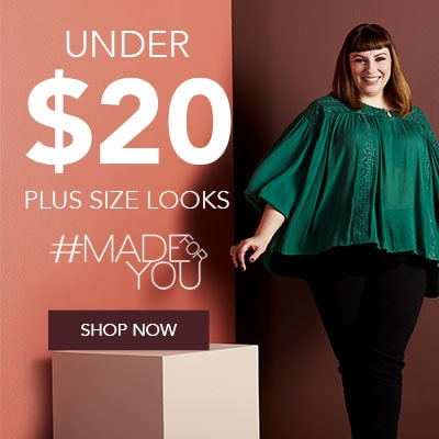 UNDER $20 PLUS SIZE LOOKS - 738-426 OSO Casuals® Woven Long Bishop Sleeve Drop Shoulder Lace Trimmed Top