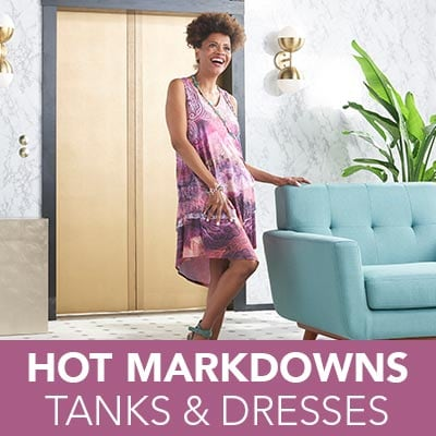 HOT MARKDOWNS TANKS & DRESSES - 736-341 One World Printed Knit & Lace Sleeveless Pointed Hem Tiered Midi Dress