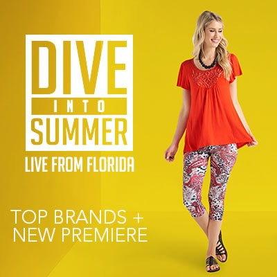 DIVE INTO SUMMER LIVE FROM FLORIDA TOP BRANDS + NEW PREMIERE - 742-554 One World Knit Short Sleeve Soutache Applique Tunic & Printed Leggings Set