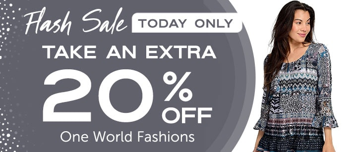 Take an Extra 20% OFF One World Fashions  FLASH SALE TODAY ONLY - 743-306 One World Mixed Print Woven & Lace 34 Sleeve Pintuck & Ruffle Detailed Hi-Lo Top