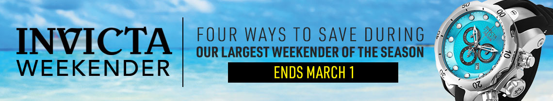 Four Ways to Save During Our Largest Weekender of the Season  Ends March 1 at ShopHQ 669-310 Invicta Reserve 52mm or 42mm Ocean Voyage Venom Limited Edition Swiss Quartz Chronograph Strap Watch