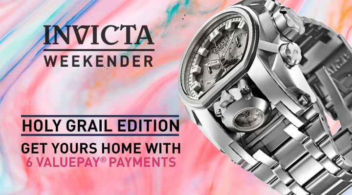 Invicta Weekender: Holy Grail Edition Get Yours Home with 6 ValuePay® Payments - 659-256 Invicta Reserve Men's 52mm Bolt Zeus Magnum Swiss Quartz Chronograph Meteorite Dial Bracelet Watch