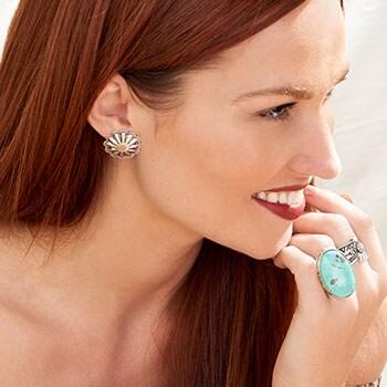 Sunwest Silver Southwestern Flair - 185-422 Sunwest Silver Oversized Flower Stud Earrings, 4.7 grams