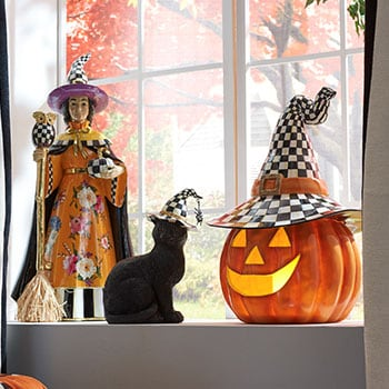 MacKenzie-Childs Free Shipping On Orders $150+ - 482-888 MacKenzie-Childs Happy Jack 17.5 Hand-Painted Illuminated Pumpkin