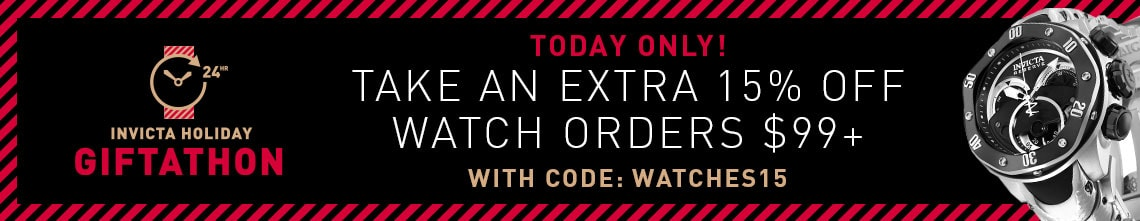 Invicta Gift-a-thon Today Only! Take an Extra 15% Off Watch Orders $99+ with Code: WATCHES15