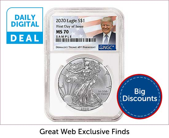 Daily Digital Deals  - 489-996 2020 First Day of Issue NGC MS70 Trump Label Silver Eagle Coin