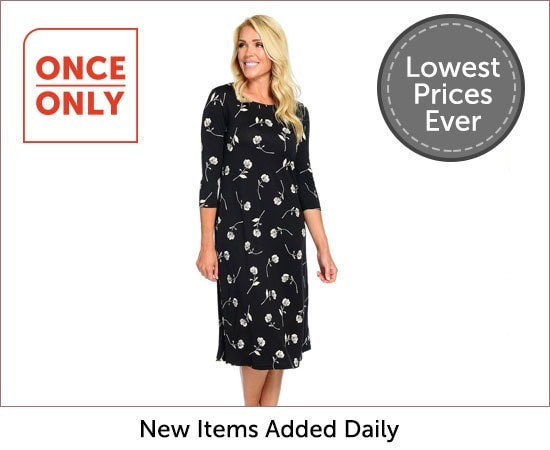 Once Only - 745-306 Kate & Mallory® Stretch Knit 34 Sleeve Scoop Neck Midi Dress