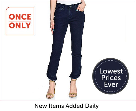 Once Only - 740-239 Kate & Mallory® Denim 5-Pocket Ruffle Detailed Ankle-Length Pull-on Jeans