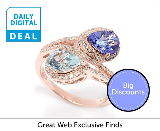 Daily Digital Deals  - 180-794 EFFY Aquarius 14K Rose Gold Diamond & Multi Gemstone Bypass Ring