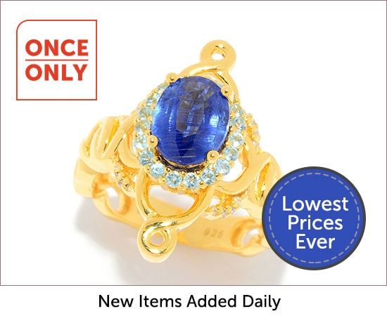 Once Only - 185-927 Hall of Style 2.38ctw Oval Kyanite, Swiss Blue Topaz & Diamond Ring