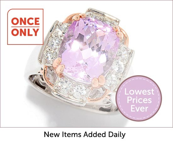 Once Only - 178-899  Gems en Vogue 6.90ctw Kunzite & White Zircon Wide Band Ring