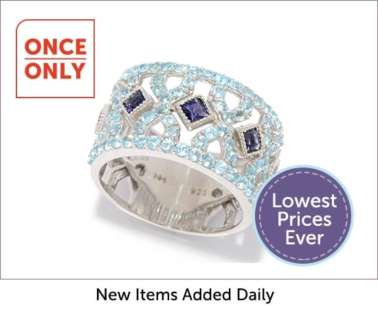 Once Only Deals - 185-937 Hall of Style Princess Cut Iolite & Swiss Blue Topaz Cut-out Band Ring