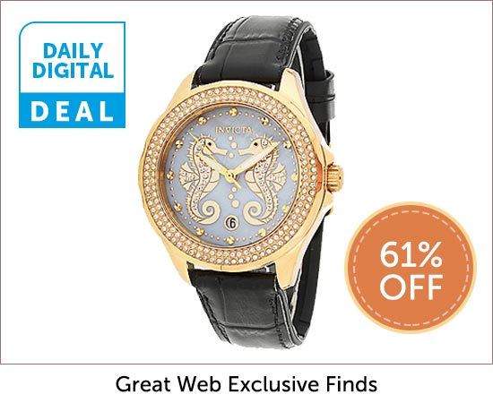 Daily Digital Deal - 678-958 Invicta Women's Ocean Voyage Sea Horse Quartz Crystal Accented Mother-of-Pearl Strap Watch