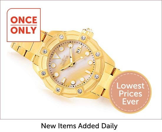 Once Only Deals - 654-272  Invicta Women's Angel Quartz Mother-of-Pearl Crystal Accented Stainless Steel Bracelet Watch