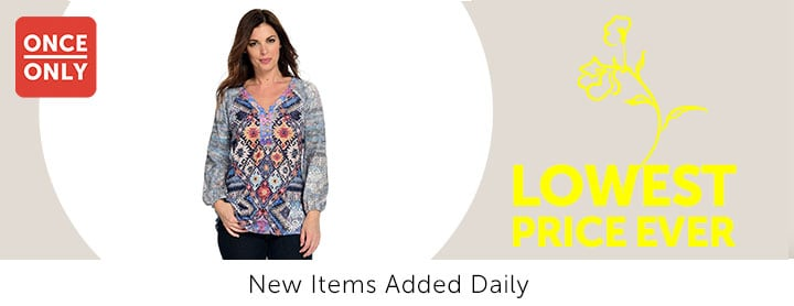 Once Only - 744-181 One World Printed Knit Bracelet Sleeve Button-up V-Neck Hi-Lo Henley Top