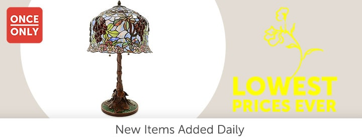 Once Only - 485-801 Tiffany-Style 27 Whispering Vineyard Stained Glass Table Lamp