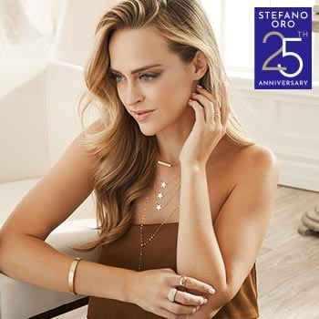 Stefano Oro Anniversary  Shop Encore Deals Up to 45% off - 191-016 Stefano Oro 14K Gold 18 Triple Star Tiered Necklace, 1.7 grams
