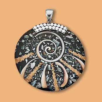 Pendants Great Gifts - 187-923 Artisan Silver by Samuel B. Round Shell Pendant