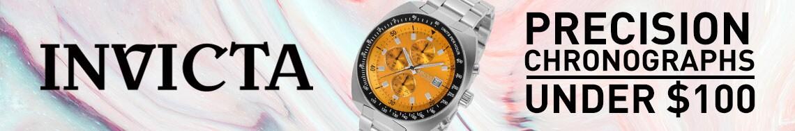 Invicta Precision Chronographs  Under $100 678-691 Invicta 46mm Pro Diver Quartz Chronograph Stainless Steel Bracelet Watch