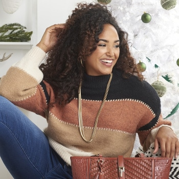 Sweaters & Cardigans Give the Gift of Warmth - 749-346 Elan Striped Knit Bubble Sleeve Turtleneck Pullover Sweater