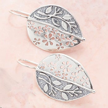 Stunning Silver -  190-873 Passage to Israel™ Sterling Silver 1.5 Leaf & Flower Earrings, 8.4 grams