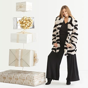 Ultimate Fashion Gifts  Presale - Shop Early & Save - 748-474 Donna Salyers' Fabulous-Furs Bold Contrast Tiger Sky Faux Fur Coat