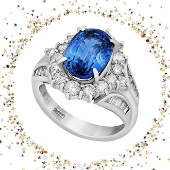 High-End Trunk Sale Over 70% Off - Ends Tomorrow - 192-841 Estate Platinum 6.41ctw Sapphire & Diamond Ring, Size 6.5 - Pre-Owned