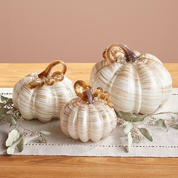 Autumn Décor Spruce Up Your Home- 494-554 At Home w Jorge Set of 3 Choice of Color Handmade Glass Pumpkins