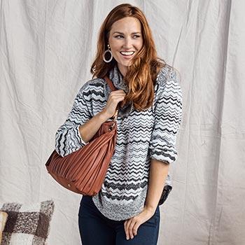 One World Styles Start at Under $10 - 749-068 One World Eyelash Knit Long Sleeve Cowl Neck Sweater