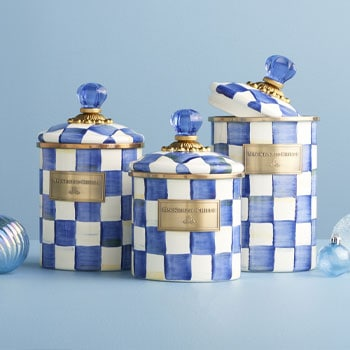 MacKenzie-Childs Memorable & Mesmerizing Gifts - 467-969 MacKenzie-Childs Set of 3 Hand-Decorated Enamelware Covered Canisters