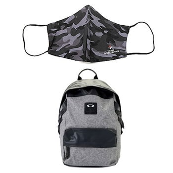 School Essentials Everything You Need for Distance Learning -  747-886 Oakley Holbrook 20L Herringbone Backpack w Front Pouch,  002-696 Medic Therapeutics Choice of 5 or 10 Fashion Face Masks